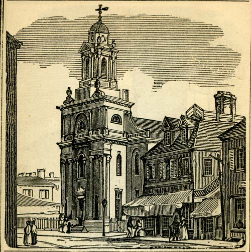 historic image of New North Church from the 1843 Boston Almanac by S. N. Dickinson