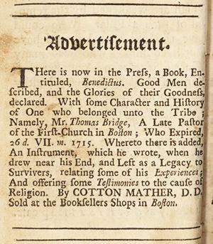 "1715 advertisement for ""Benedictus"""