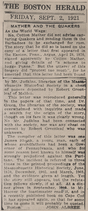 "1921 Boston Herald article ""Mather and the Quakers"""