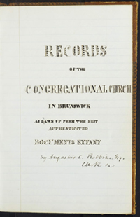 title page of a record book from First Church Brunswick