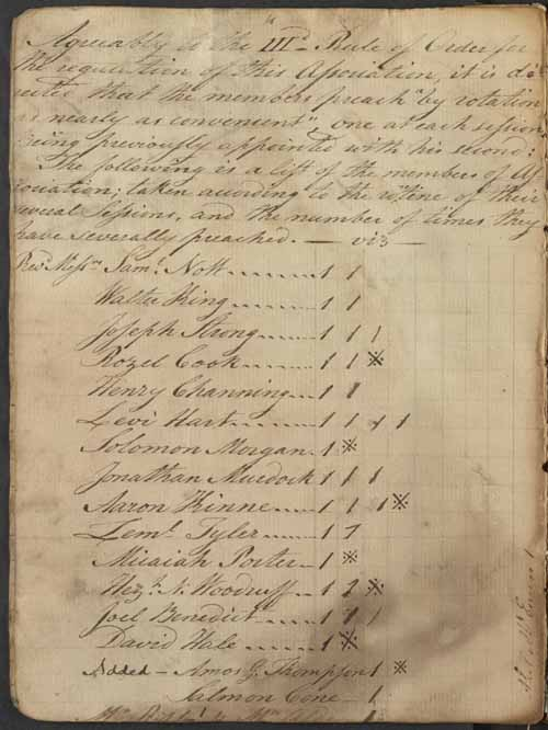 page from the New London Association records