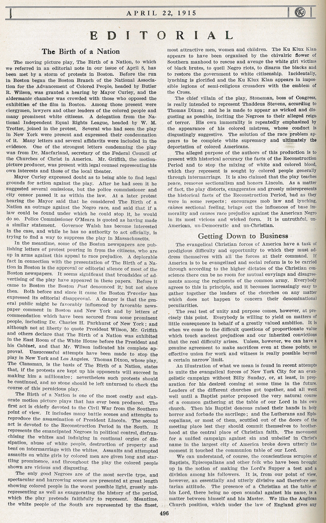 "Cobleigh's editorial on ""The Birth of a Nation"" in The Congregationalist, 22 April 1915"