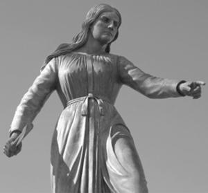 statue of Hannah Duston in Haverhill, Mass.