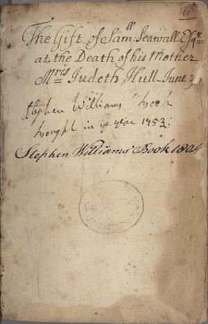"""inscription in the CLA copy of """"Johannes In Eremo"""""""