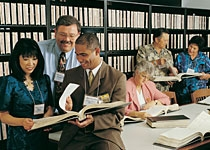 researchers at the Family History Library in Salt Lake City