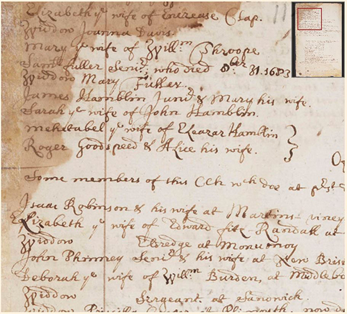 detail from page 20 of the Barnstable West Parish records