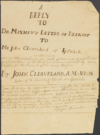 "cover page from Rev. Cleaveland's ""Reply to Dr. Mayhew's Letter of Reproof"""