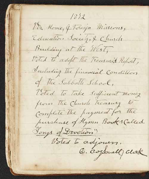 page from the Essex First Church records