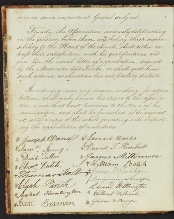 page from the first volume of Essex North Association records