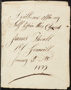 James Thrall's signature page on his relation to Granville First Church