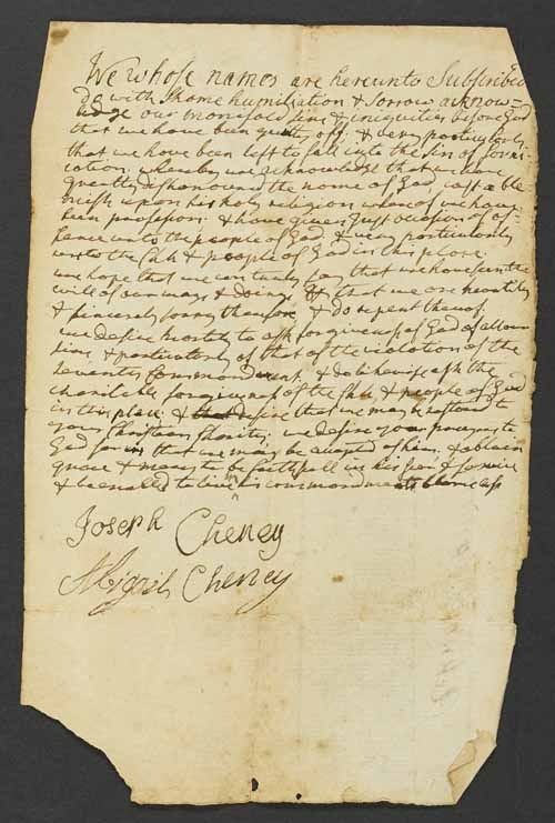 Joseph and Abigail Cheney's confession