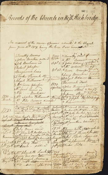page from the West Stockbridge church records
