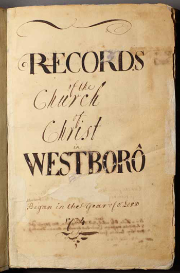 title page from the Westborough church records
