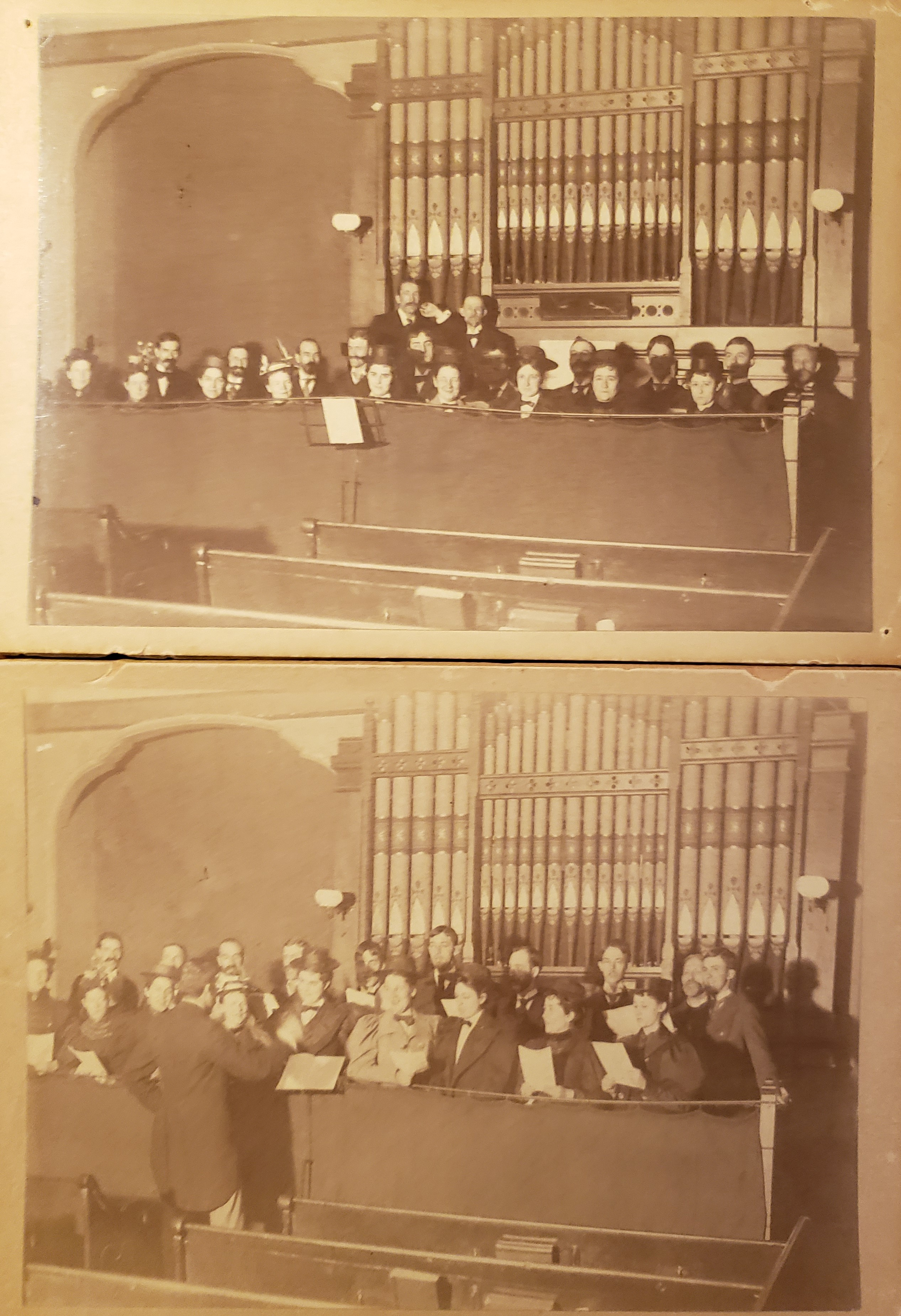 Two images of the choir at Central Congregational Church in Newton, Mass.