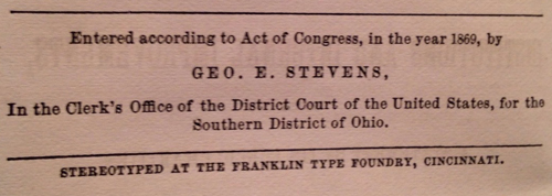 "stereotyping notice from ""The City of Cincinnati"" (1869)  by George E. Stevens"