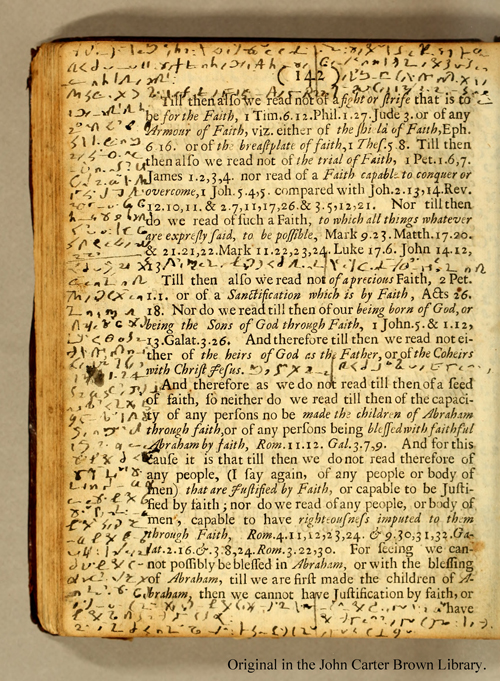"Roger Williams's encoded marginalia in John Eliot's ""An Essay Toward the Reconciling of Difference Among Christians"""