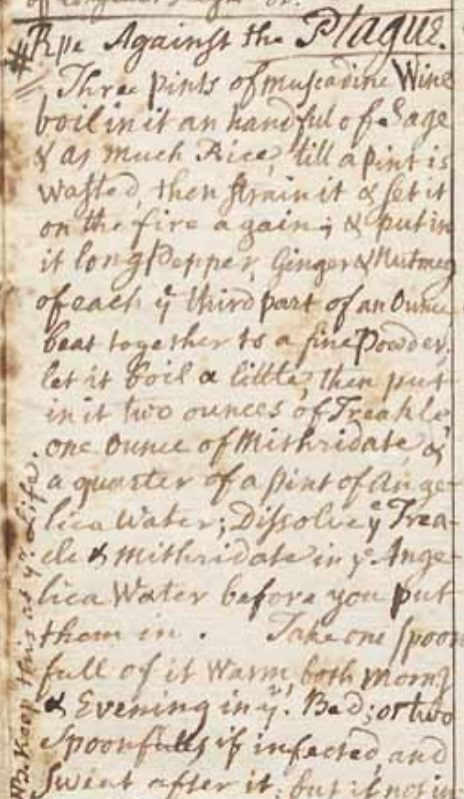 """Recipe against the Plague"" from the notebook of Rev. Ebenezer Parkman"
