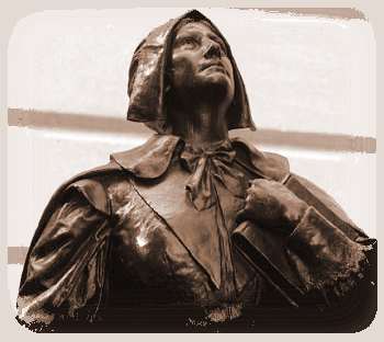 statue of Anne Hutchinson at the Massachusetts state house