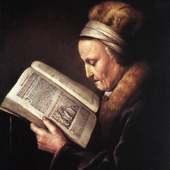 Portrait of an Old Woman Reading (ca. 1630-1635) by Gerrit Dou