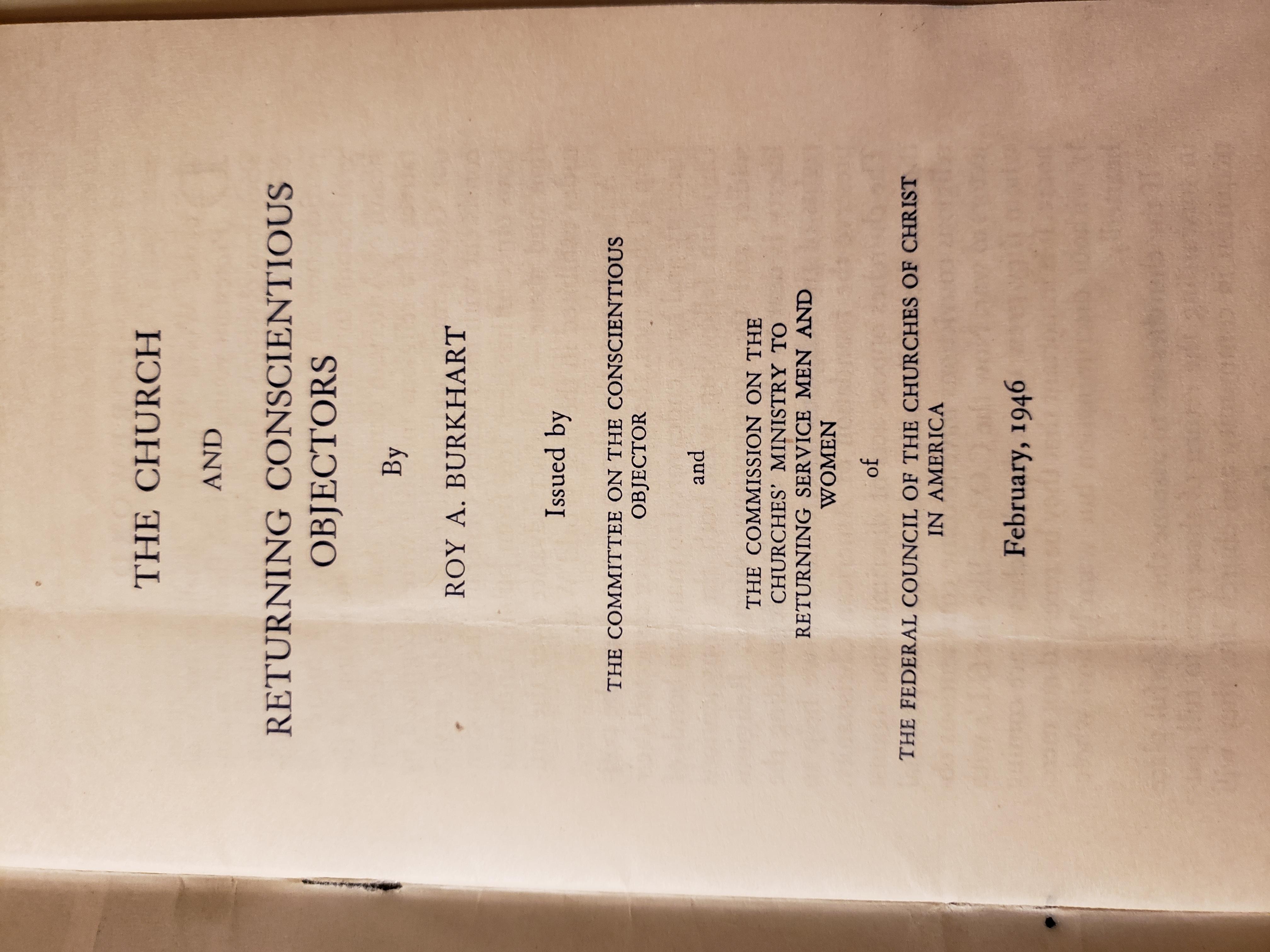 Conscientious Objectors Pamphlet