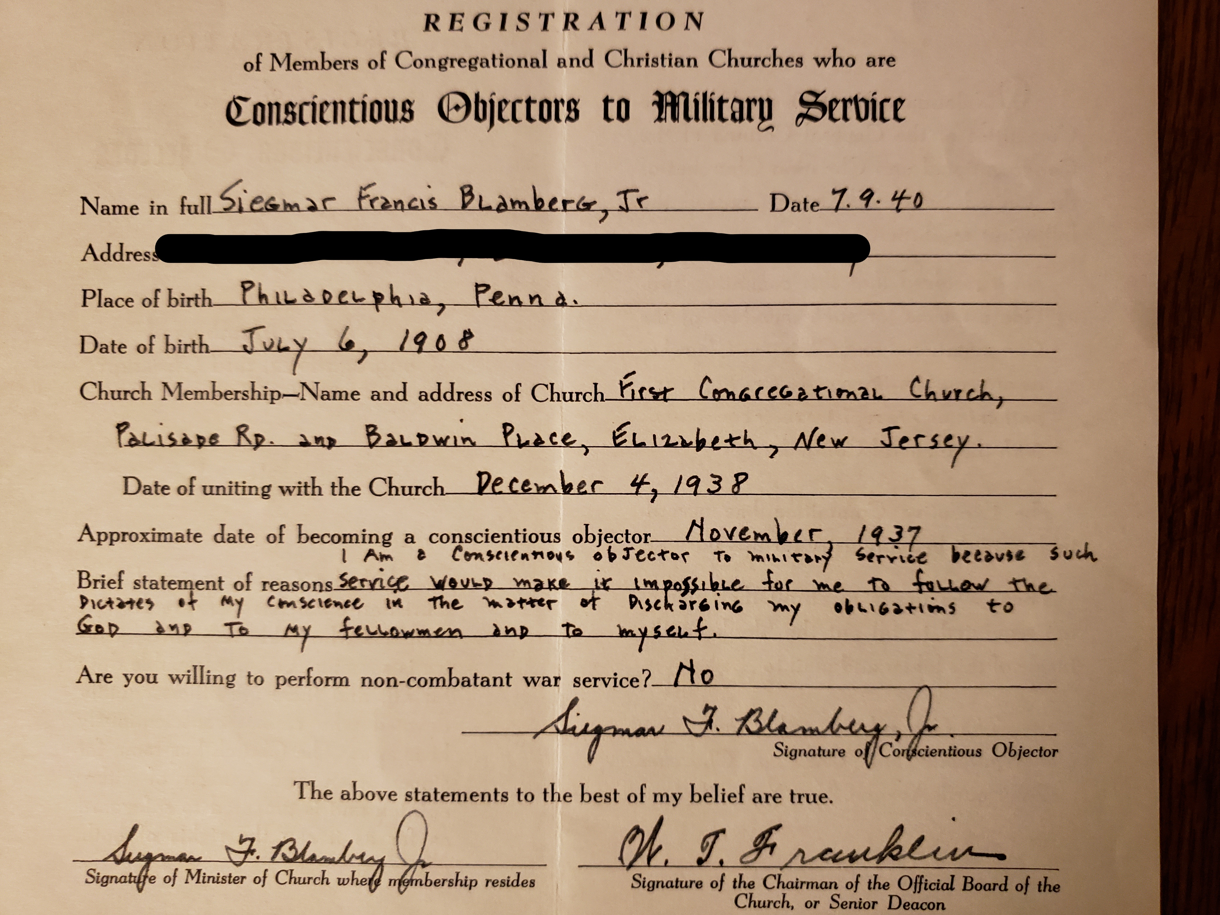 Conscientious Objectors papers