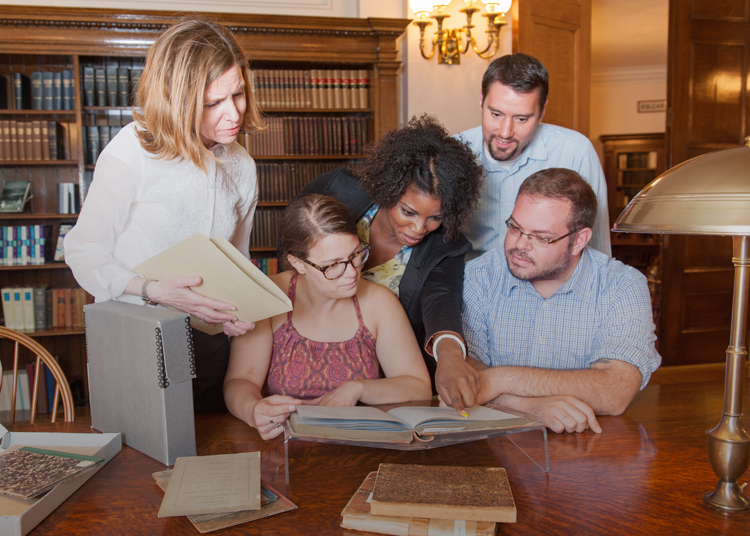 a group of researchers read manuscript records