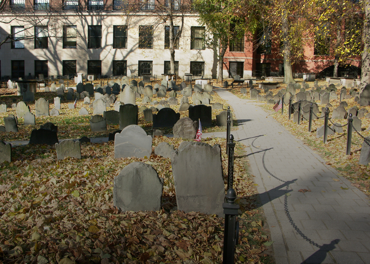 a path in the historic Granary burial ground