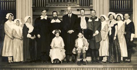 """The men and women of 1630. Prospect Church, Cambridge, 1930."""