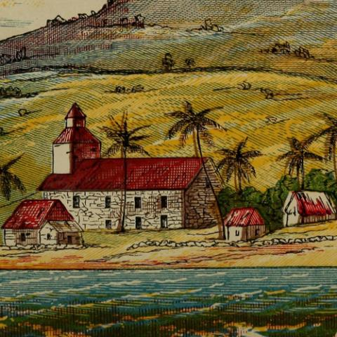 "image of Kailua Church, an excerpt from ""The King's Country Seat, and Church at Kailua"", frontispiece of ""Scenes in the Hawaiian Islands and California"" (1865) by Mary Evarts Anderson"