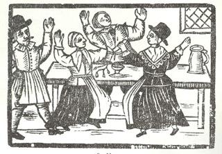 """woodcut of """"wicked Ranters"""" from the book """"Hell Broke Loose..."""" (1651)"""