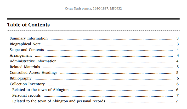 Table of contents for the Cyrus Nash papers, 1630-1837