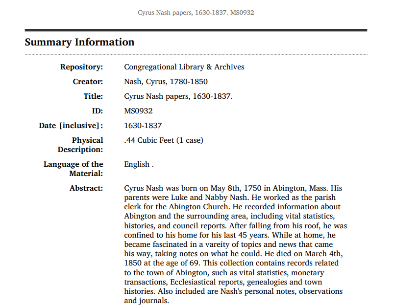 Summary information for the Cyrus Nash papers, 1630-1837