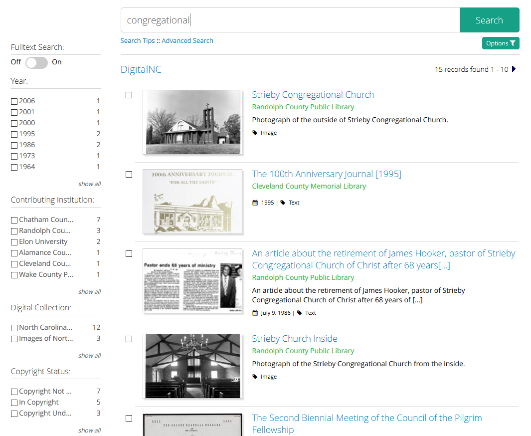 Example of faceted search from Digital North Carolina