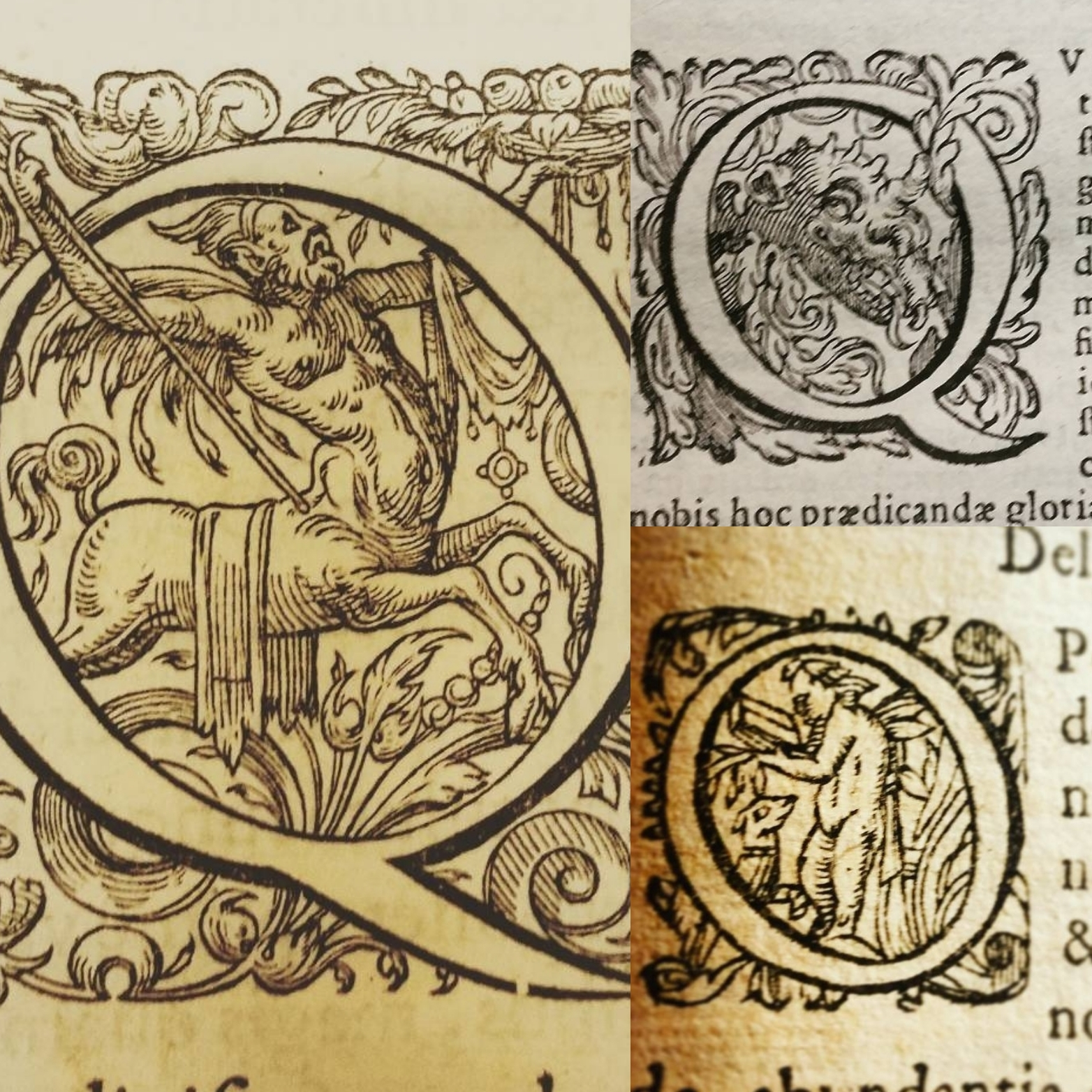Historiated Letters featuring centaurs, dragons and dogs
