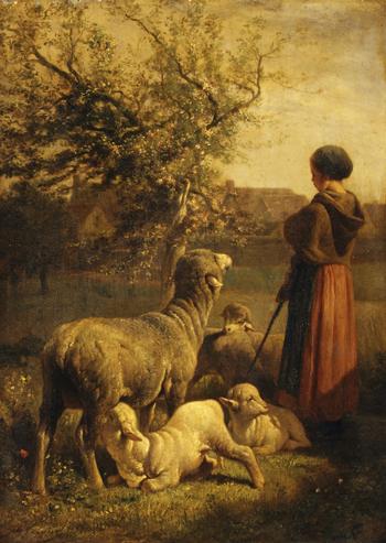 """Springtime"" (ca. 1860) by Charles Jacque"