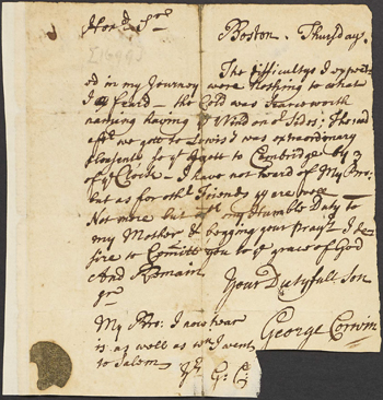 page from the George Curwen papers