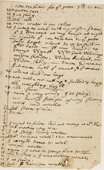 page from Joseph Green's diary