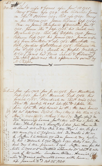 page from the Hopkinton First Church records