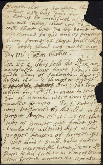page from John Lake's memoranda book