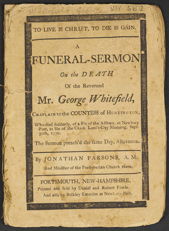 cover of Rev. Parsons's funeral sermon for George Whitefield