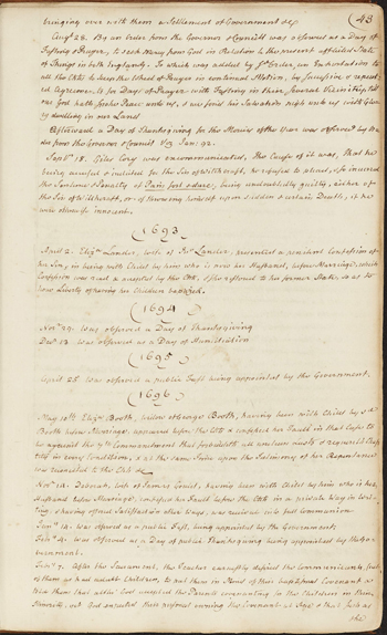 page from the Salem First Church records