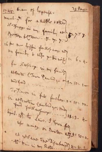 page from the Osgoods' account book in the Stoneham First Church records