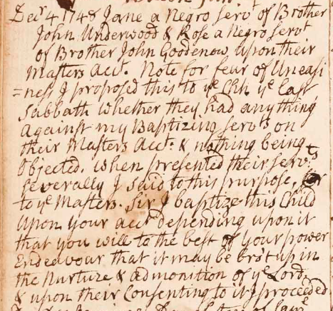 Baptism record from the First Church, Natick, detailing a baptism of several enslaved people at the request of their owner