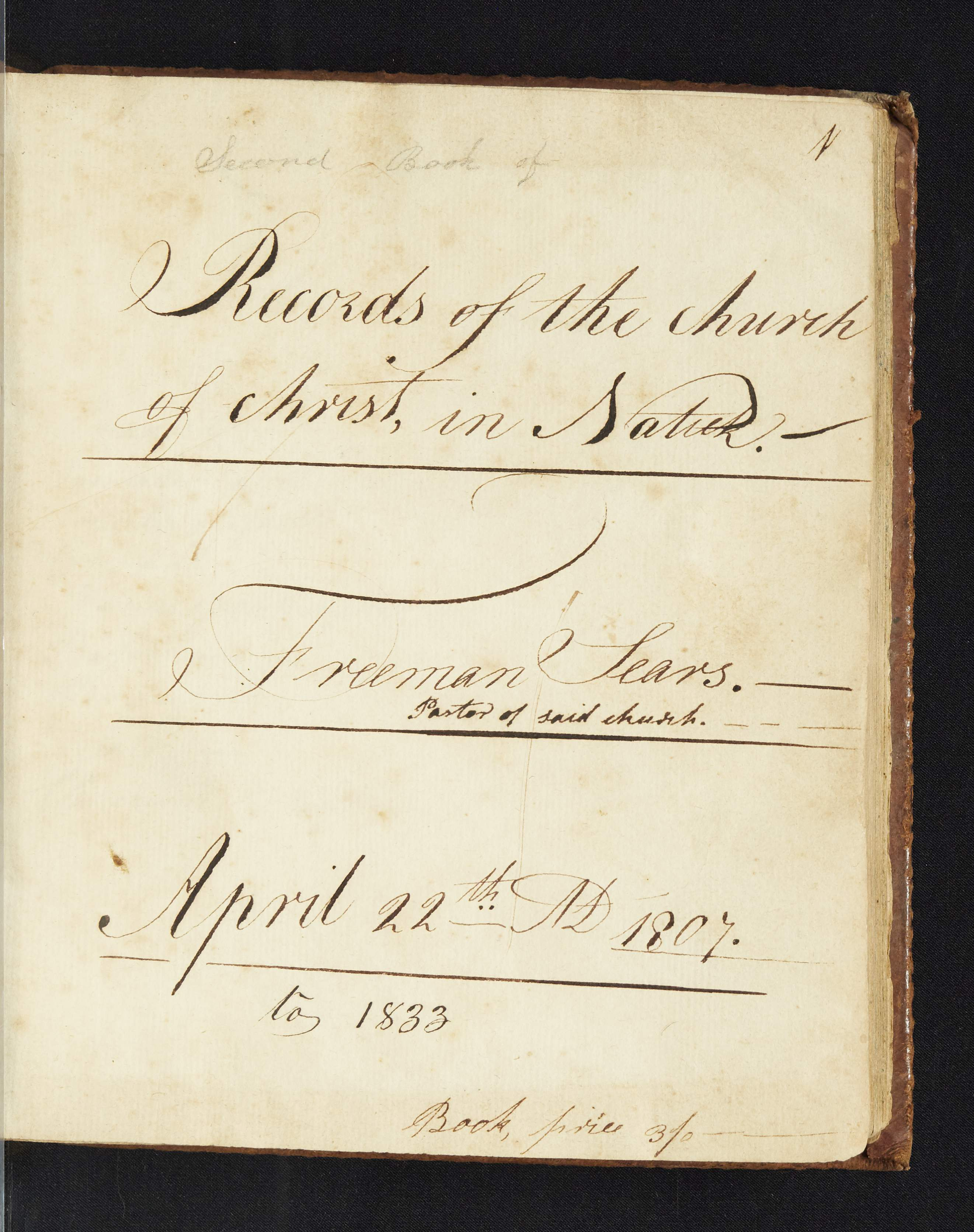 page from Natick First church records, 1802-1833