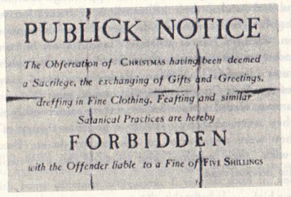 Puritan Christmas ban