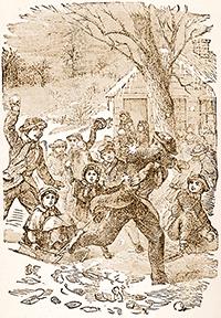 children having a snowball fight