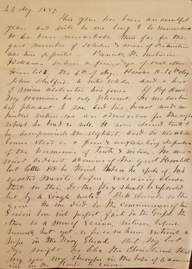 Edward Franklin Williams diary entry fron 1859