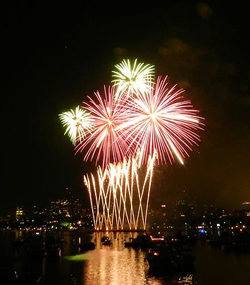 Fourth of July fireworks over the Charles River in Boston, photograph by Pablo Valerio